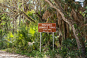 Marker at the entrance to the Historic Jungle Trail on Orchid Island in Vero Beach, Florida. The eight-mile sandy road built in the 1920s along the banks of the Indian River leading to Pelican Island Sanctuary, the first wildlife refuge in the U.S.