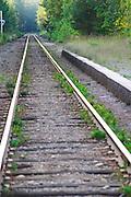 Converging railway tracks. Lonneberga Smaland region. Sweden, Europe.