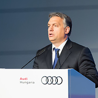 Viktor Orban prime minister of Hungary talks during the production launch event of Audi TT Roadster in the Audi factory in Gyor (about 120 km West of Budapest), Hungary on November 05, 2014. ATTILA VOLGYI