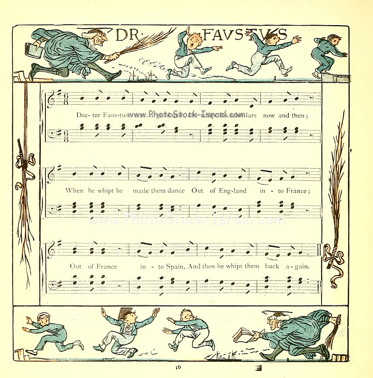 Doctor Faustus From the Book '  The baby's opera : a book of old rhymes, with new dresses by Walter Crane, and Edmund Evans Publishes in London and New York by F. Warne and co. in 1900