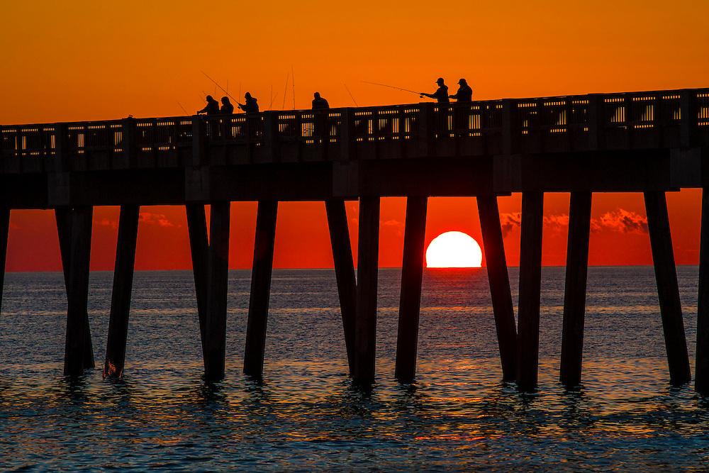 Fishing at sunset in Panama City Florida
