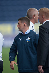 Morton's manager Allan Moore and Falkirk's manager Gary Holt  at the end.<br /> Falkirk 3 v 1 Morton, Scottish Championship 17/8/2013.<br /> ©Michael Schofield.