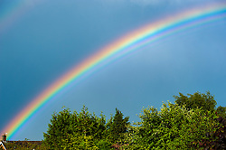 Rainbow over trees, Leicestershire, England.