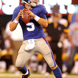 21 Aug, 2010: New York Giants quarterback Rhett Bomar (5) drops back during second half NFL preseason action between the New York Giants and Pittsburgh Steelers at New Meadowlands Stadium in East Rutherford, New Jersey. The Steelers beat the Giants 24-17.