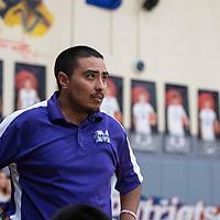 Miyamura coach Reyes Hernandez Thursday, Jan. 24 during their matchup against Aztec in Gallup.