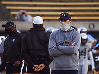 Dec 5, 2020; Berkeley, California, USA; California Golden Bears head coach Justin Wilcox before the game against the Oregon Ducks at California Memorial Stadium. Mandatory Credit: Kelley L Cox-USA TODAY Sports
