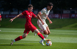 LIVERPOOL, ENGLAND - Wednesday, September 15, 2021: Liverpool's Mateusz Musialowski (L) during the UEFA Youth League Group B Matchday 1 game between Liverpool FC Under19's and AC Milan Under 19's at the Liverpool Academy. Liverpool won 1-0. (Pic by David Rawcliffe/Propaganda)