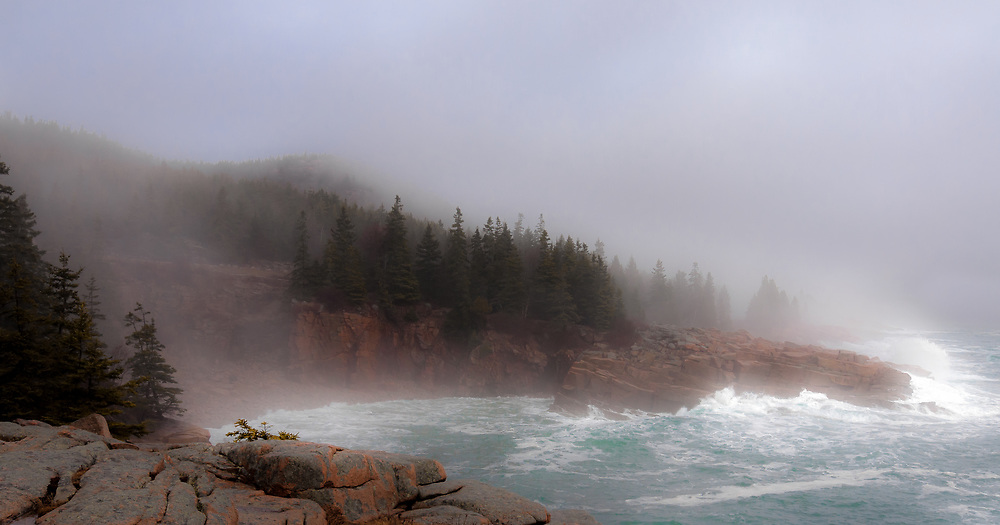 About the Subject: Surf and rocks, fog and forest. About the Image: Surf pounds on the Acadia shoreline with spume from the impact melding with the fog drifting onshore and mingling through the trees.