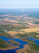 Aerial view of Columbia County, Wisconsin, with stream and wetlands in the foreground, and the Columbia Generating Station in the background.