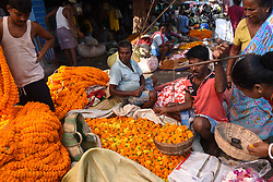 October 8, 2018 - Kolkata, West Bengal, India - Indian Vendor at the flower market of Kolkata, India, on 08,October,2018. The 129-year old Kolkata Flower Market is eastern India's largest flower market with hundreds of stalls and people sitting on the ground.Demand for flowers are high for the forthcoming Hindu festival Kali Puja,Deepawali,Jagadharty Puja with added price increases this season due to rising diesel costs in the distribution chain. (Credit Image: © Debajyoti Chakraborty/NurPhoto via ZUMA Press)