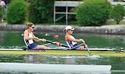 Bled, SLOVENIA,  Bow, Zsuzsanna FRANCIA and Erin CAFARO USA W2-  move away from the start in their heat of the women's pair on the opening day, FISA World Cup, Bled venue, Lake Bled.  Friday  28/05/2010  [Mandatory Credit Peter Spurrier/ Intersport Images]