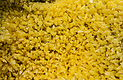 Sulphur Crystals from Mina de Azufre (Sulphur fulmeroles)<br /> inside crater of Sierra Negrá Volcano (second largest volcanic crater in the world)<br /> Isabela Island<br /> Galapagos Islands<br /> ECUADOR.  South America