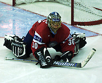Icehockey. Qualification Olympic Games. Norway-Germany 8 january 2001. Norge-Tyskland, Jordal Amfi. Bjorge Josefsen, Bjørge Josefsen), Norge. (målvakt, keeper)