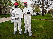 27 APRIL 2019 - STUART, IOWA: Protesters against US Representative Eric Swalwell (D-CA) outside at the Reaching Rural Voters Forum in Stuart. They were protesting Swalwell's stand on gun control, because they said, Swalwell suggesting using nuclear weapons against gun owners. Swalwell is a candidate for the Democratic nomination for the US presidency. The forum was an outreach by Democrats in Iowa's 3rd Congressional District to mobilize Democratic voters statewide. Iowa saw one of the largest shifts from Democrats to Republicans in the 2016 Presidential election and Trump won the state by double digits. Republicans control the governor's office and both chambers of the Iowa legislature. Iowa traditionally hosts the the first selection event of the presidential election cycle. The Iowa Caucuses will be on Feb. 3, 2020.                               PHOTO BY JACK KURTZ