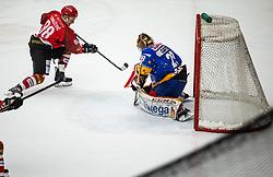 #98 Blaz Tomazevic of Jesenice during ice hockey match between HK SIJ Acroni Jesenice and Asiago Hockey in Round #3 of Alps Hockey League 2018/19 , on September 22, 2018 in Podmezakla hall , Jesenice, Slovenia. Photo by Urban Meglic / Sportida
