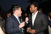 James Corden; Chiwetel Ejiofor, Serpentine's Summer party co-hosted with Christopher Kane. 15th Serpentine Pavilion designed by Spanish architects Selgascano. Kensington Gardens. London. 2 July 2015.