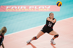 06.09.2013, Gery Weber Stadion, Halle, GER, Volleyball EM 2013, Deutschland vs Spanien, im Bild,, Annahme Heike Beier (#12 GER) // during the volleyball european championchip match between Germany and Spain at the Gery Weber Stadion in Halle, Germany on 2013/09/06. EXPA Pictures © 2013, PhotoCredit: EXPA/ Eibner/ Kurth<br /> <br /> ***** ATTENTION - OUT OF GER *****