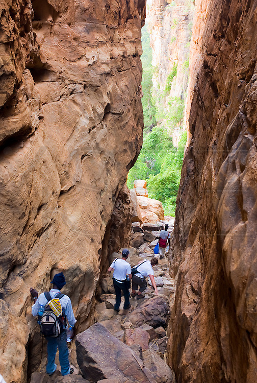 A group of tourists and their guide descending a ravine in the Bandiagara Escarpment between Doundjourou and Yabatalou villages. The Dogon Country is the most visited part of Mali with tourists visiting its tipical  villages that can be located on the cliff, on the sandy plain or in the rocky plateau