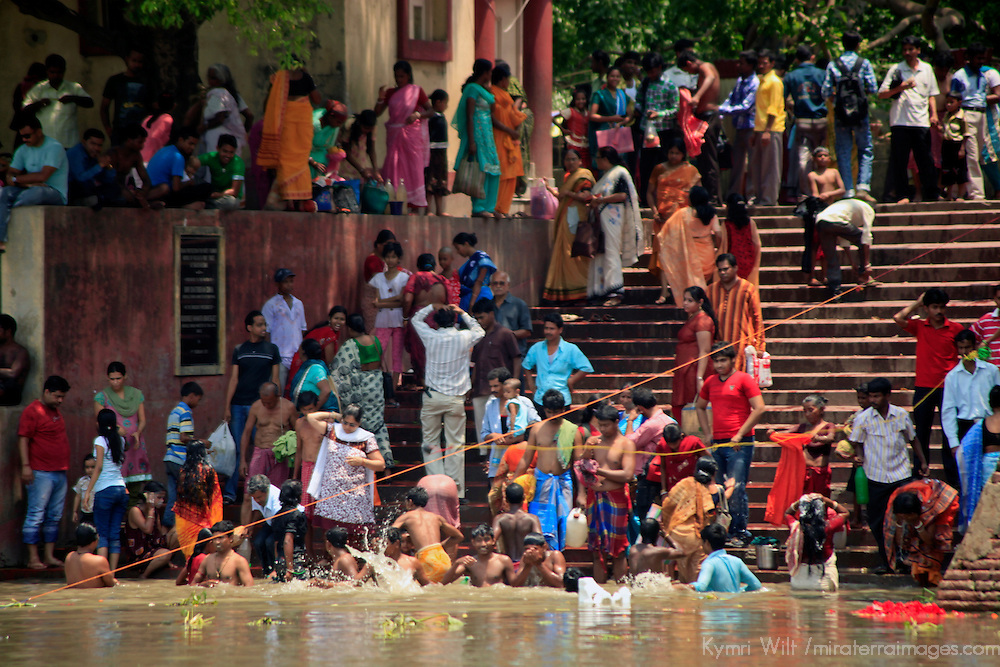 Asia, India, Calcutta. Ghat of the Hooghly River.