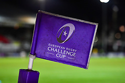 European Rugby Challenge cup branded corner flag<br /> <br /> Photographer Craig Thomas/Replay Images<br /> <br /> EPCR Champions Cup Round 3 - Newport Gwent Dragons v Newcastle Falcons - Saturday 15th December 2017 - Rodney Parade - Newport<br /> <br /> World Copyright © 2017 Replay Images. All rights reserved. info@replayimages.co.uk - www.replayimages.co.uk