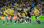 Sonny Bill Williams tackles Adam Ashley Cooper, Rugby Championship. Australia v All Blacks at ANZ Stadium, Sydney, New Zealand. Saturday 18 August 2012. New Zealand. Photo: Richard Hood/photosport.co.nz