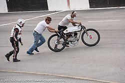 Freddie Bollwage racing his 1921 Harley-Davidson J racer at Billy Lane's Sons of Speed vintage motorcycle racing during Biketoberfest. Daytona Beach, FL, USA. Saturday October 21, 2017. Photography ©2017 Michael Lichter.