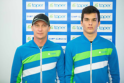 Ales Span and Nel Ostir during official presentation of the outfits of the Slovenian Ski Teams before new season 2015/16, on October 6, 2015 in Kulinarika Jezersek, Sora, Slovenia. Photo by Vid Ponikvar / Sportida