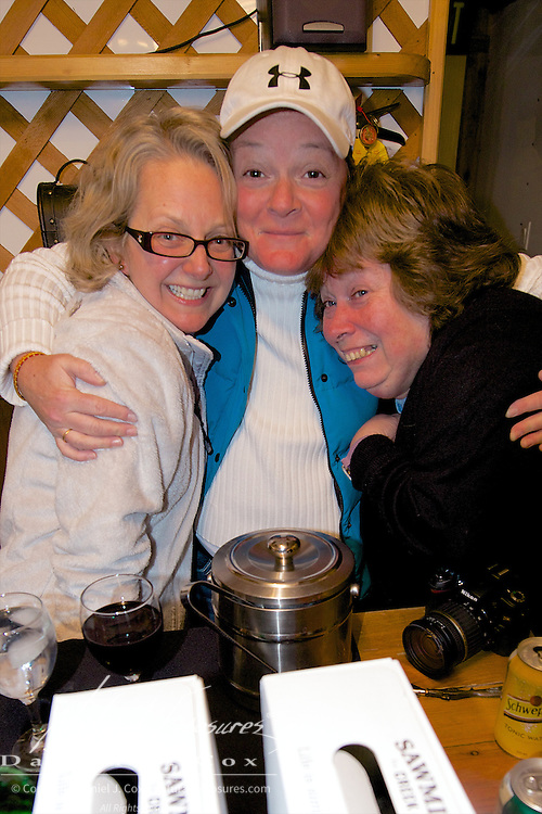 Nicky with two new friends Rachel and Carol. Tundra Buggy Lounge Cape Churchill, 2012
