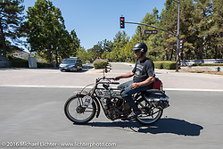 Doug Feinsod of California riding his 1913 Thor on the last day of the Motorcycle Cannonball Race of the Century. Stage-15 ride from Palm Desert, CA to Carlsbad, CA. USA. Sunday September 25, 2016. Photography ©2016 Michael Lichter.