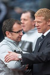 Hibernian's manager Pat Fenlon and Gary Holt, Falkirk  manager..Half time : Hibernian 0 v 3 Falkirk, William Hill Scottish Cup Semi Final, Hampden Park..©Michael Schofield..