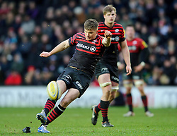 Saracens replacement (#22) Owen Farrell kicks a Penalty during the second half of the match - Photo mandatory by-line: Rogan Thomson/JMP - Tel: Mobile: 07966 386802 30/12/2012 - SPORT - RUGBY - stadiummk - Milton Keynes. Saracens v Northampton Saints - Aviva Premiership.