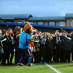 TELFORD COPYRIGHT MIKE SHERIDAN 1/12/2018 - Pupils from Telford Priory School Choir entertain the crowd at half time during the Vanarama Conference North fixture between AFC Telford United and Bradford Park Avenue AFC.