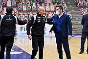 Giulio Pepponi, Gianmarco Pozzecco<br /> Banco di Sardegna Dinamo Sassari - A|X Armani Exchange Olimpia Milano<br /> Legabasket LBA Serie A UnipolSai 2020-2021<br /> Sassari, 14/04/2021<br /> Foto L.Canu / Ciamillo-Castoria