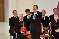 October 5, 2016 - Vatican City, Vatican - Ban Ki Moon during Conference Sport at service of humanity, at the Vatican on october 05, 2016  The goal of the conference is to create a forum where leaders from different religious faiths, sports, business, academia and media can discuss how faith and sport can work together to better serve humanity. (Credit Image: © Silvia Lore/NurPhoto via ZUMA Press)