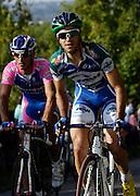France, October 10 2010: An unidentified SAUR-SOJASUN (SAU) rider on the Côte de l'Epan during the 2010 Paris Tours cycle race.  Copyright 2010 Peter Horrell