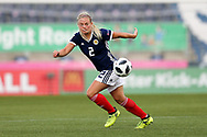 Kirsty Smith (#2) of Scotland controls the ball during the FIFA Women's World Cup UEFA Qualifier match between Scotland Women and Belarus Women at Falkirk Stadium, Falkirk, Scotland on 7 June 2018. Picture by Craig Doyle.