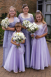 Group of young girls wearing bridesmaid dresses and holding bouquets of flowers,