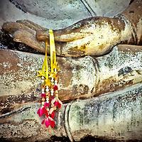 Flower Garlands Placed on Buddha Hands, Ayutthaya, Thailand