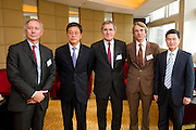 L-R: Paris Europlace Chief Executive Arnaud de Bresson, Vice Mayor of Shanghai Tu Guangshao, GDF Suez CEO and Paris Europlace Chairman Gerard Mestrallet, French Consul General in Shanghai Emmanuel Le Nain, Shanghai Municipal Government Financial Services Director-General Fang Xinghai, at Shanghai / Paris Europlace Financial Forum, in Shanghai, China, on December 1, 2010. Photo by Lucas Schifres/Pictobank