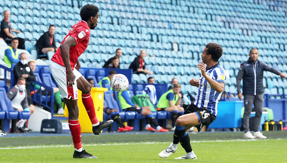 Nottingham Forest's Sammy Ameobi vies for possession with Sheffield Wednesday's Jacob Murphy<br /> <br /> Photographer Rich Linley/CameraSport<br /> <br /> The EFL Sky Bet Championship - Sheffield Wednesday v Nottingham Forest - Saturday 20th June 2020 - Hillsborough - Sheffield <br /> <br /> World Copyright © 2020 CameraSport. All rights reserved. 43 Linden Ave. Countesthorpe. Leicester. England. LE8 5PG - Tel: +44 (0) 116 277 4147 - admin@camerasport.com - www.camerasport.com