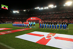 Switzerland and Northern Ireland players line up before the FIFA World Cup Qualifying second leg match at St Jakob Park, Basel. PRESS ASSOCIATION Photo. Picture date: Sunday November 12, 2017. See PA story SOCCER Switzerland. Photo credit should read: Nick Potts/PA Wire