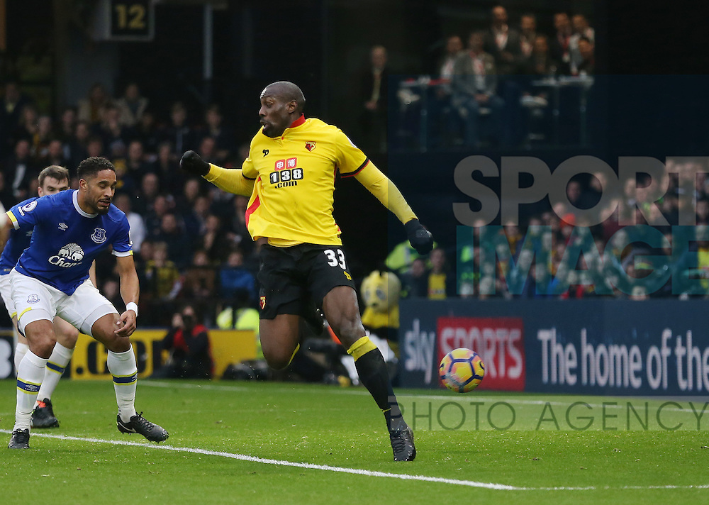 Watford's Stefano Okaka scoring his sides opening goal during the Premier League match at Vicarage Road Stadium, London. Picture date December 10th, 2016 Pic David Klein/Sportimage