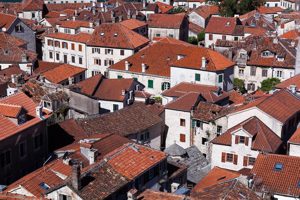 Red tiled roof tops in Kotor, Montenegro.