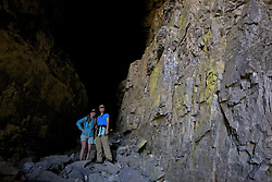 Lady Hikers exploring Darby Wind Cave in the Grand Teton Mountains