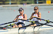 Plovdiv BULGARIA. GBR LW2X, Bow Kathryn TWYMAN and Andrea DENNIS  start of the lightweight women's double sculls, heats.  2011 FISA European Rowing Championships, Plovdiv Rowing Centre   Friday  16/09/2011  [Mandatory Credit; Peter Spurrier: Intersport Images]  Original Camera File No.  2011011754.jpg
