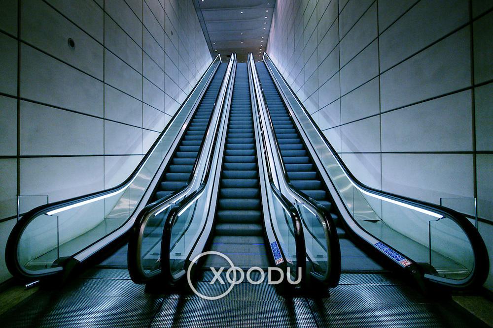 Canary Wharf escalators, London, England (October 2006)