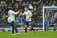 Wycombe Wanderers Players Celebrate  after Wycombe Wanderers Midfielder, Bryn Morris (17) scores a goal to make 0-1 with Wycombe Wanderers Forward, Adebayo Akinfenwa (20) during the EFL Sky Bet League 1 match between Portsmouth and Wycombe Wanderers at Fratton Park, Portsmouth, England on 22 September 2018.