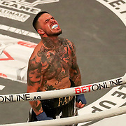 HOLLYWOOD, FL - JUNE 26: Famez celebrates his victory over Paul Teague during the Bare Knuckle Fighting Championships at the Seminole Hard Rock & Casino on June 26, 2021 in Hollywood, Florida. (Photo by Alex Menendez/Getty Images) *** Local Caption *** Famez; Paul Teague