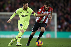February 10, 2019 - Bilbao, Vizcaya, Spain - Lionel Messi of Barcelona  and Mikel San Jose of Athletic during the week 23 of La Liga between Athletic Club and FC Barcelona at San Mames stadium on February 10 2019 in Bilbao, Spain. (Credit Image: © Jose Breton/NurPhoto via ZUMA Press)