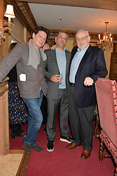 Left to right, MARCO PIERRE WHITE, GIORGI LOCATELLI and PIERRE KOFFMANN at a lunch hosted by Fortnum & Mason, Piccadilly, London on 29th January 2015 in honour of Marco Pierre White and the publication of White Heat 25.